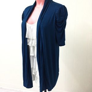 XL Blue and White Ruffled Tee and Cardigan Combo